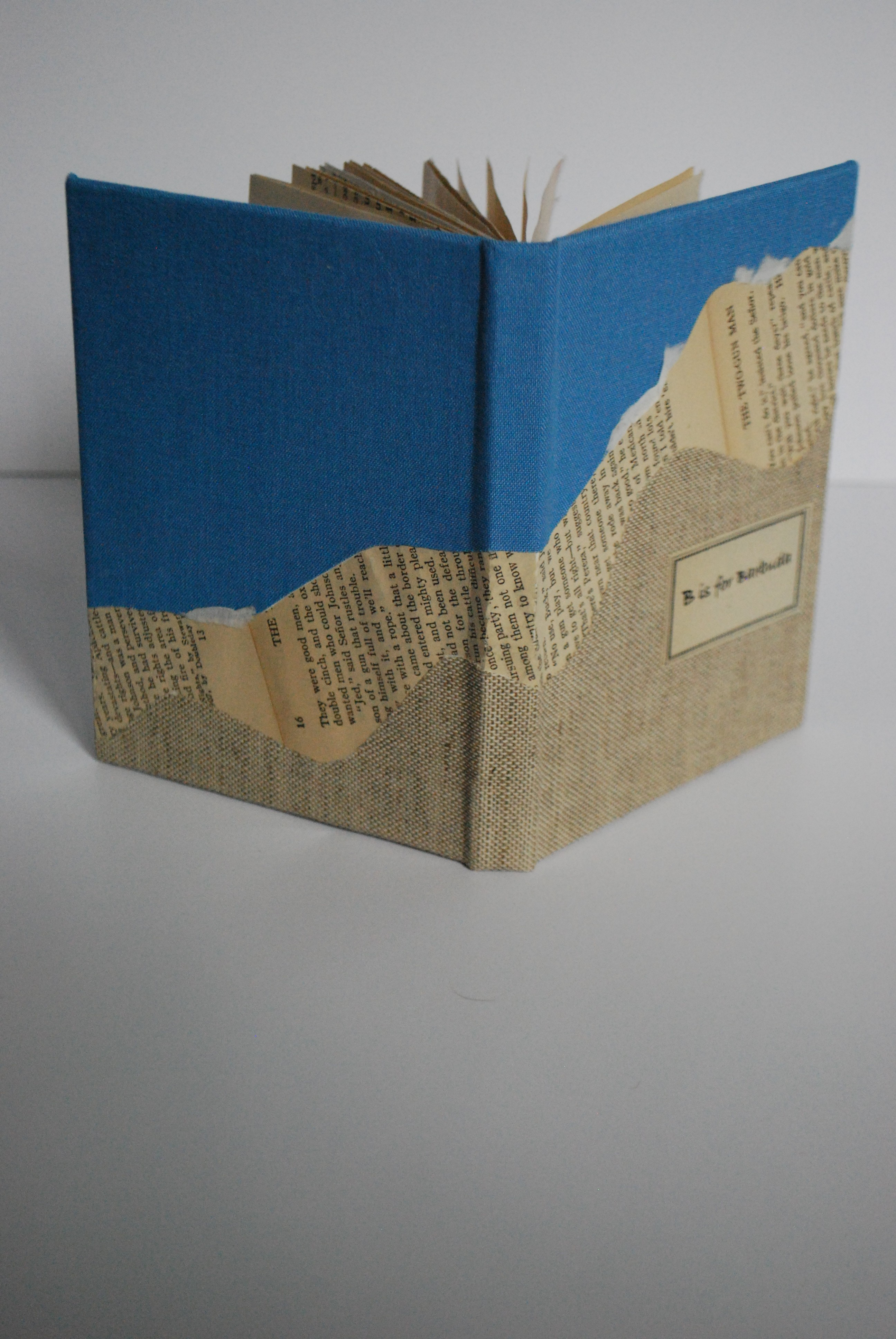 Book standing open showing full cover with book cloth and altered book page collage