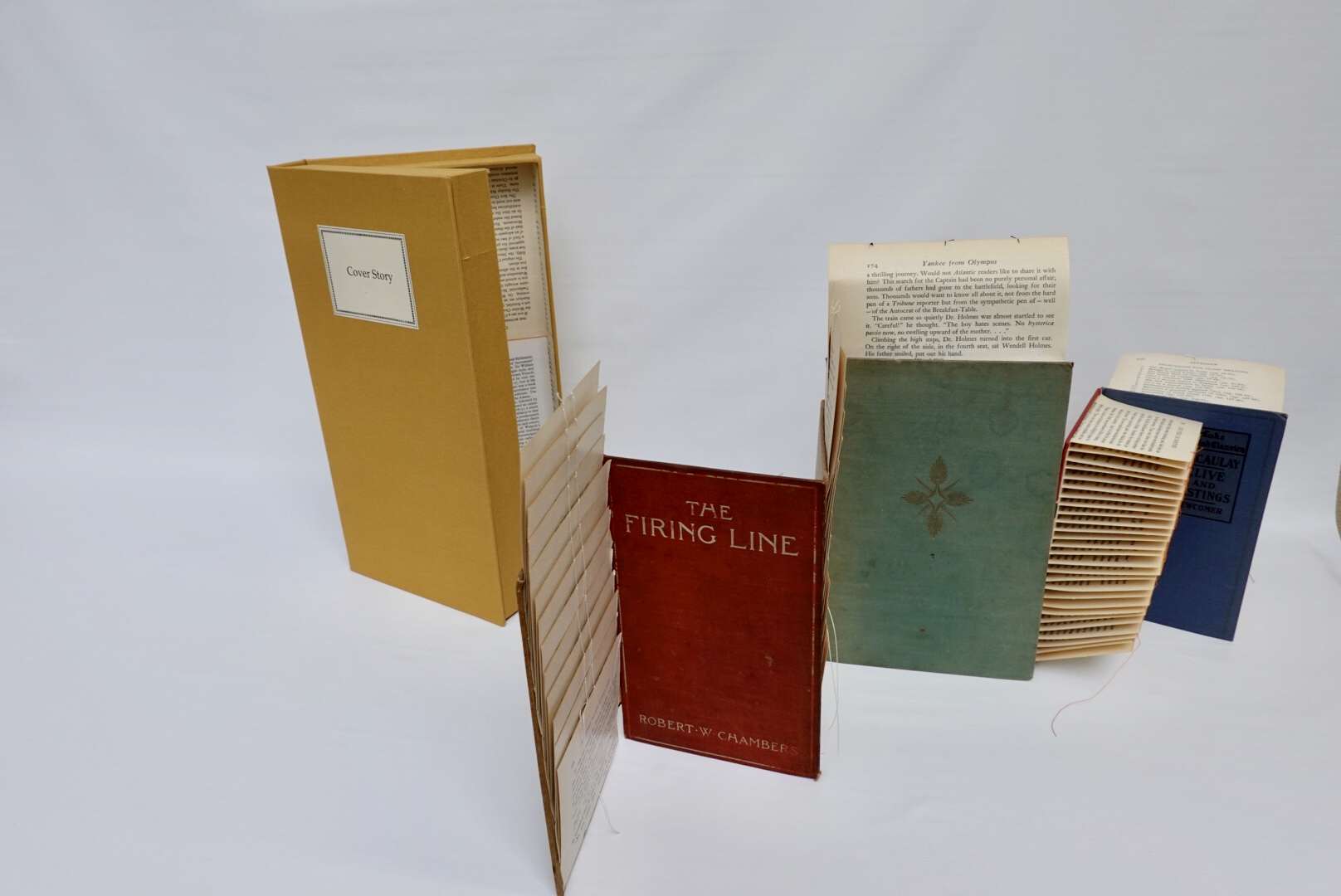 The altered book called Cover Story is an accordion book using hard covers from vintage books with abstract folded and sewn book pages attached.  The book rests in a clam shell box lined with book pages.