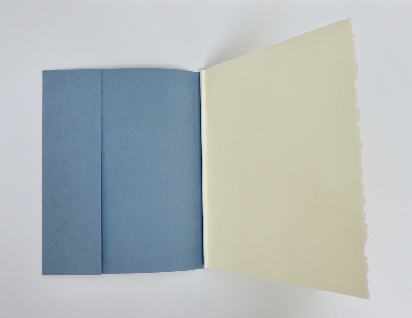 photo of blue paper cover over the hand bound book block