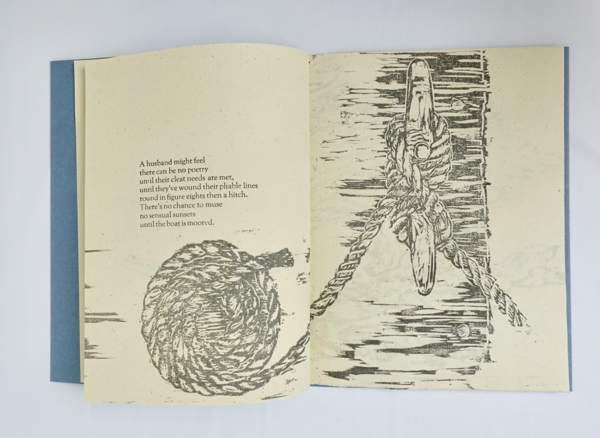 first page of book content with wood cut relief imagery and first stanza of poem
