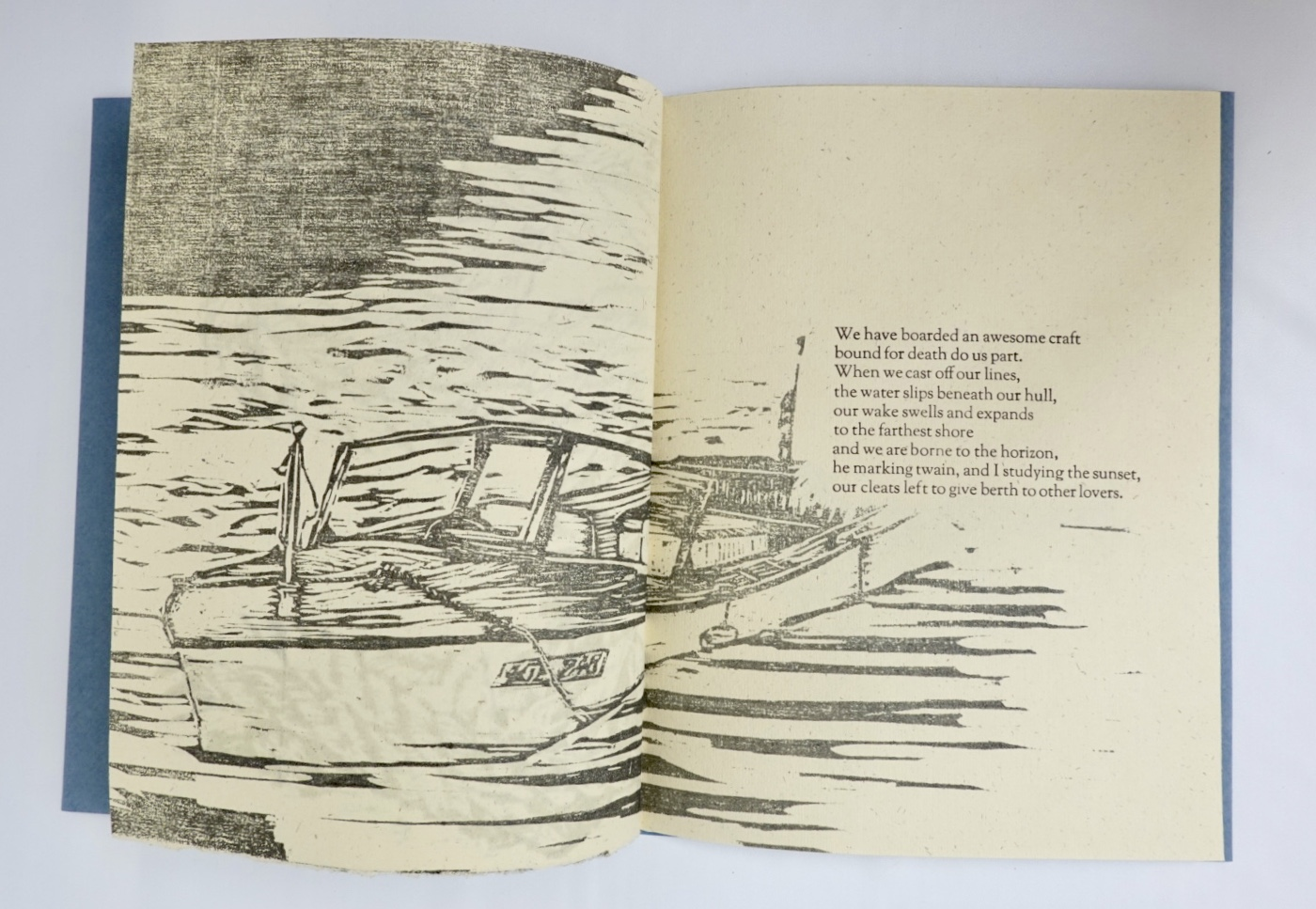 fifth and sixth pages of book with wood cut relief imagery and third and final stanza of poem